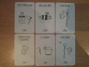A few card examples from the very first deck. This is far from a normal game...
