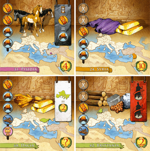 A selection of the regions you'll find in Augustus. Note that the spots you need to cover on the left of the cards start with the most common symbols at the top.