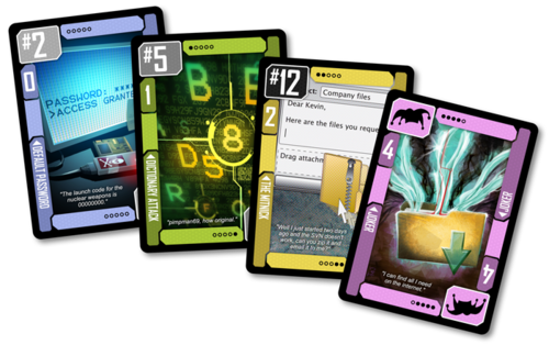 Some examples of the cards you'll get in Black Hat. The art's pretty sweet throughout, actually - nerdy, techy style.